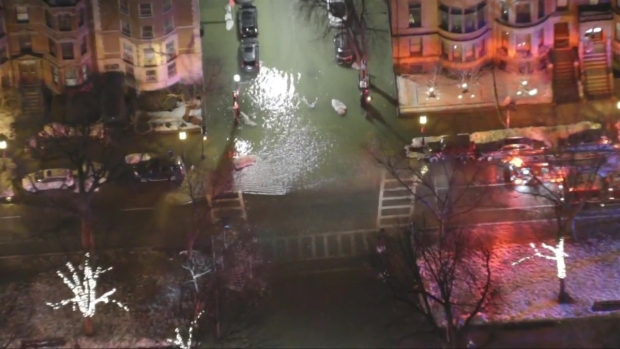 Water Flows Onto Comm. Ave. in Back Bay