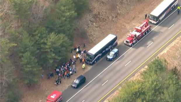 [NECN] 7 Injured When 2 Charter Buses Crash in Duxbury