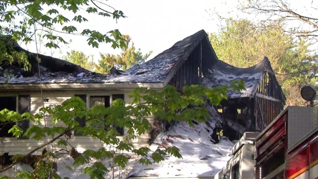 [NECN] Crews Battling Five-Alarm Fire in Needham