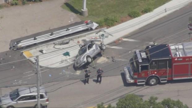 [NECN] Police Respond to Scene of Marlborough, Mass. Crash