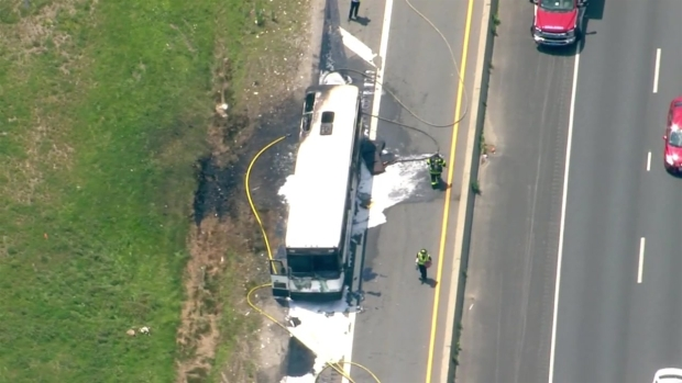 [NECN] Charter Bus Catches Fire on Massachusetts Highway