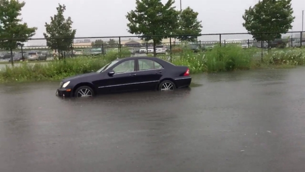 [NECN] Streets Flood in New Bedford, Mass. During Storm