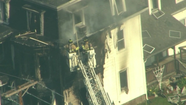 [NECN] Aerial Footage of Pepperell Structure Fire