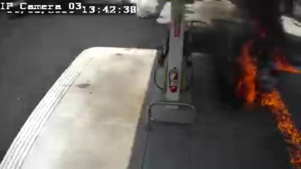 [NECN] Raw Video Shows Fire Ignite at Brockton Gas Station