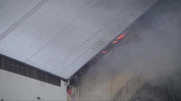 [NECN] Aerial Footage Shows Massive Fire at North Andover Recycling Facility