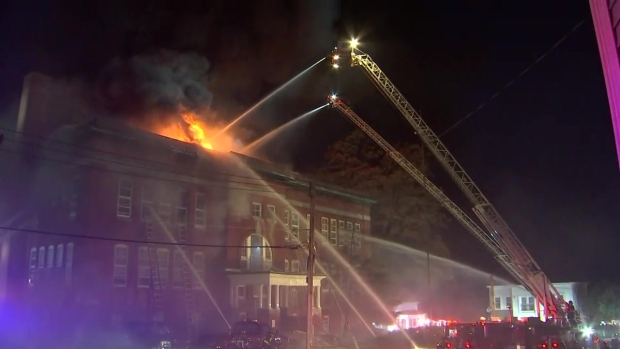[NECN] VIDEO: Firefighters Battling Blaze at Fitchburg Apartment Building