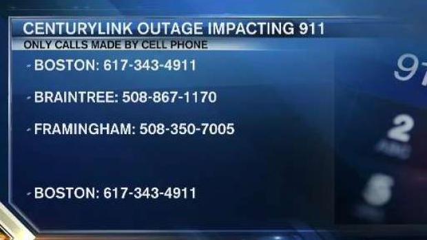 [NECN] CenturyLink Outage Affecting 911 Cellphone Calls