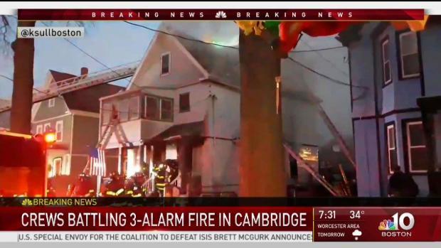 [NECN] Crews Battling 3-Alarm Fire in Cambridge