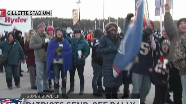 [NECN] Crowds Line Up Early for Pats Rally