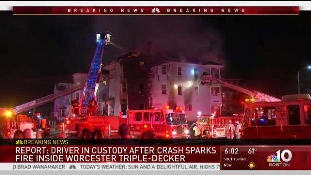 [NECN] Fiery Car Crash in Worcester Home