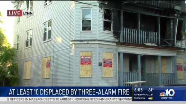 [NECN] Fire Crews Look Into 3 Alarm Blaze in Lynn