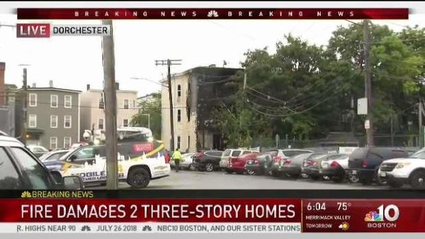 [NECN] Fire Damages 2 Three-Story Homes in Dorchester