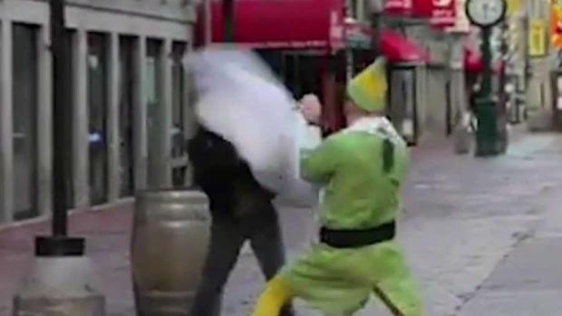 Firefighter Dressed at 'Buddy the Elf' Starts Pillow Fight