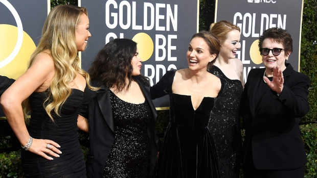 #TimesUp: Actresses attend 2018 Golden Globes with activists