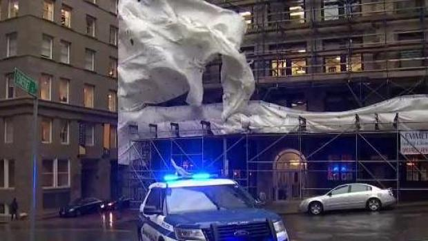 [NECN] High Winds Damage Buildings and Block Roads in Boston