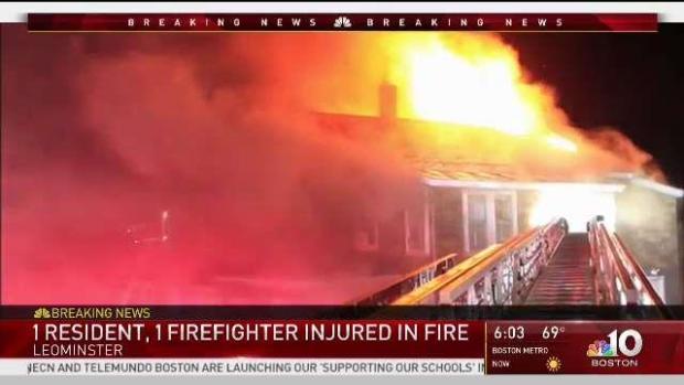 [NECN] House Fire Injures Homeowner Firefighter in Leominster