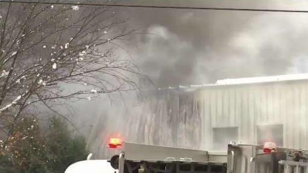 [NECN] Industrial Fire in Colchester Draws Large Response