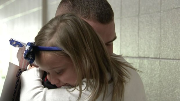 Emotional Reunion as Marine Surprises Daughter at School