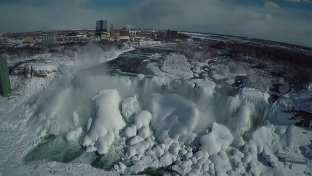 WATCH: Stunning Drone Footage of Frozen Niagara Falls