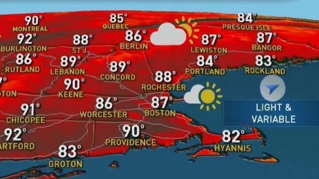 [NECN] Weather Forecast: Sunny, Muggy Across New England