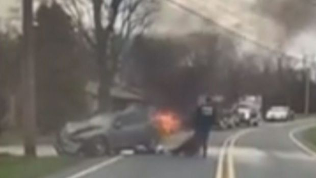 Watch Crash Victim's Dramatic Rescue From Flaming Car