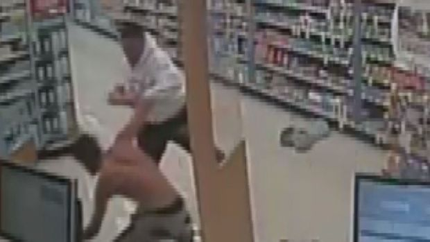 Caught on Camera: Alleged Pharmacy Robber Receives Beating