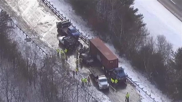 [NECN] Crews Clean Up Scene of Massive I-93 Pileup