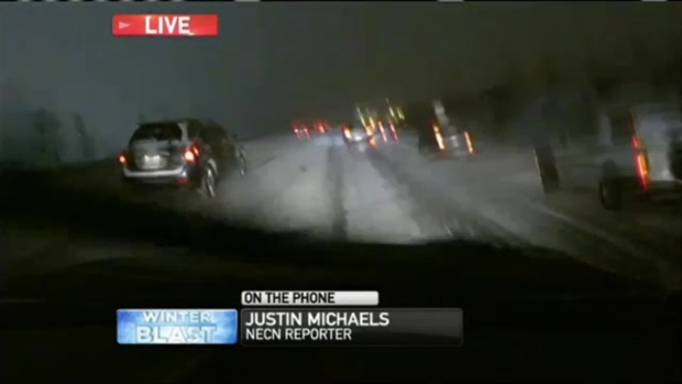[NECN] Storm Slows Traffic on New England's Highways