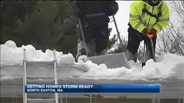 [NECN] Homeowners Clear Roofs in Preparation for More Snow