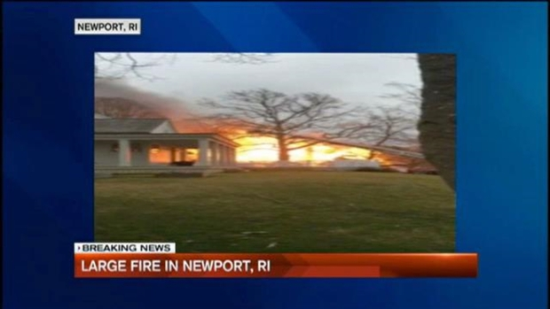 [NECN] VIEWER VIDEO: Large Estate Bursts Into Flames in Newport, Rhode Island