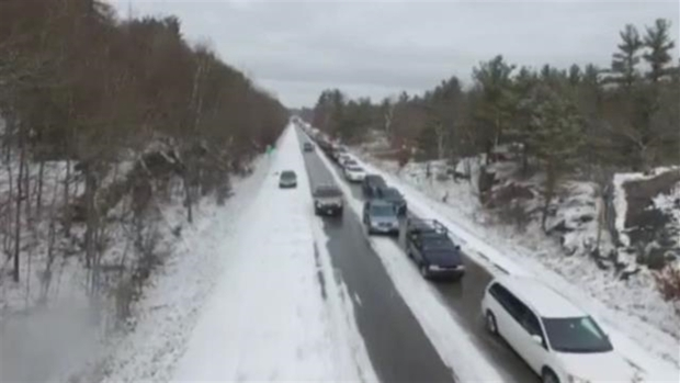 AERIAL FOOTAGE: Snowy Conditions Cause Crashes on I-93 in NH