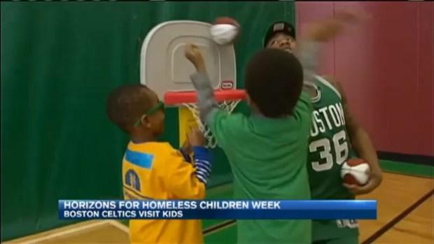[NECN] Horizons for Homess Children: Boston Celtics Visit Kids