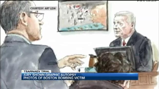 [NECN] Jury Shown Graphic Autopsy Photos of Boston Bombing Victim