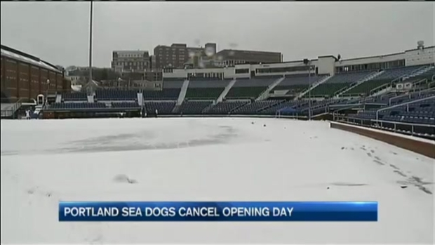 [NECN] Sea Dogs Opening Day Cancelled Due to Snow