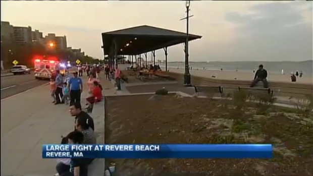 [NECN] Enormous Brawl on Revere Beach in Mass.