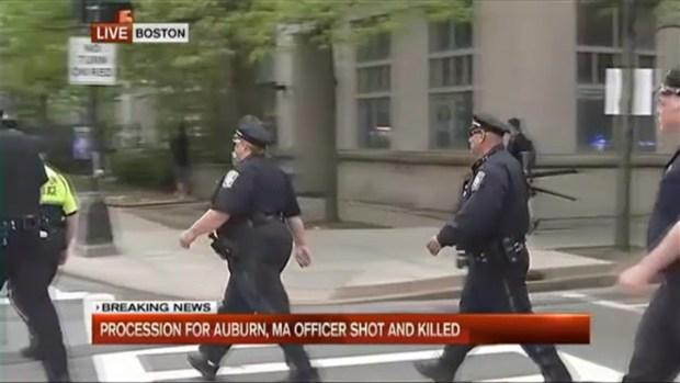 Procession for Auburn, Mass. Officer Fatally Shot