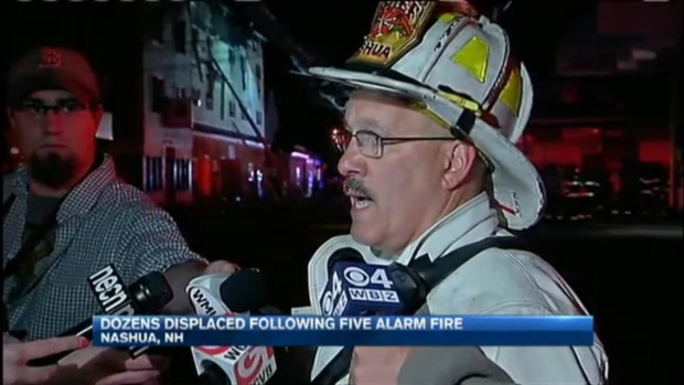 [NECN] Firefighter Injured in 5-Alarm Fire