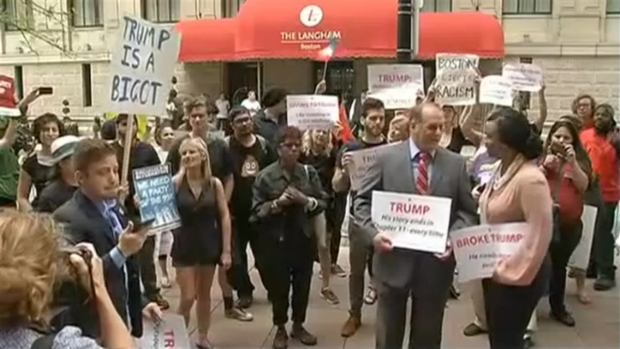 [NECN] Protesters Gather Ahead of Trump's Closed Fundraiser in Boston