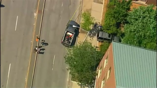 [NECN] AERIAL FOOTAGE: Scene of Crash That Left Grandmother, 5-Year-Old in Critical Condition