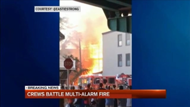 [NECN] 12 Displaced in 5-Alarm Boston Fire
