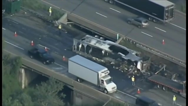 Aftermath of Mass. Turnpike Tractor Trailer Crash