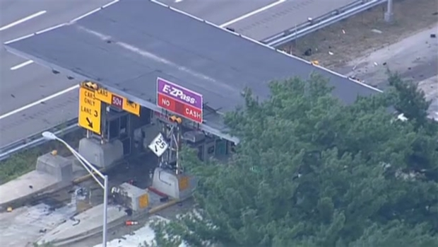 [NECN] RAW VIDEO: Emergency Crews at the Scene of Toll Booth Crash, Fire