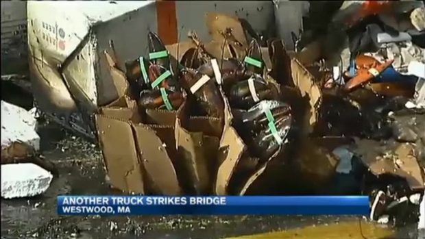 [NECN] Truck Slams Into Bridge in Westwood, Massachusetts