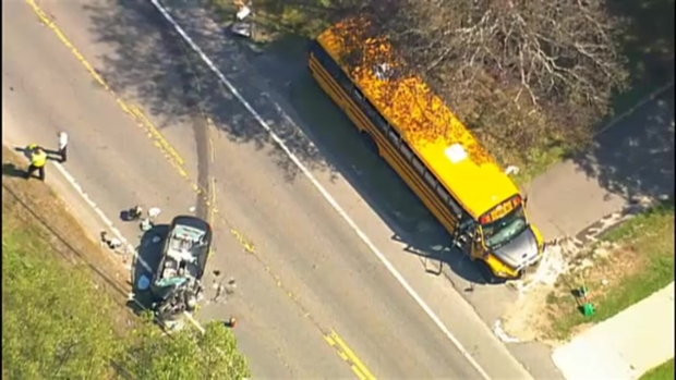 [NECN] Head-On Crash Between School Bus and Car in Mendon, Mass.