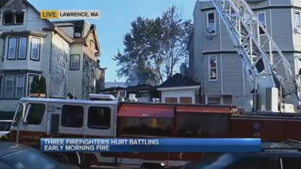 [NECN] 4 Firefighters Injured in 4-Alarm Lawrence, Massachusetts, Fire