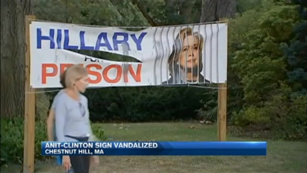 [NECN] Anti-Hillary Clinton Sign Vandalized Outside Chestnut Hill Home