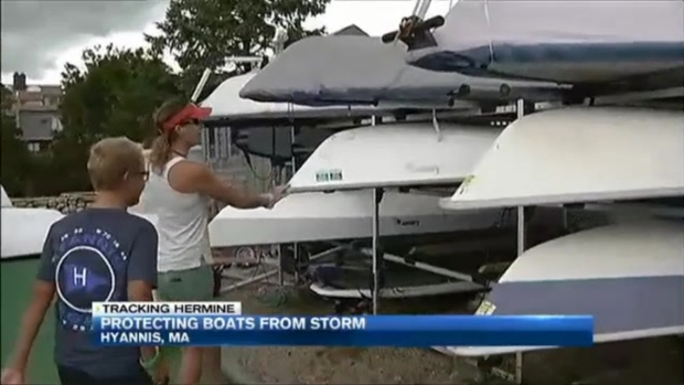 [NECN] Hyannis Boats Ordered Out of Water Ahead of Storm