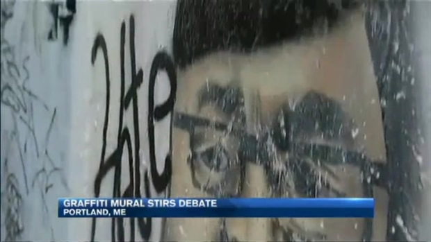 [NECN] Graffiti Mural of Maine Gov. Paul LePage in KKK Garb Stirs Controversy