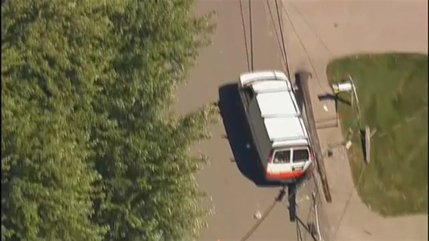 [NECN] AERIAL FOOTAGE: Crash Knocks Out Power Lines in Newburyport, Massachusetts