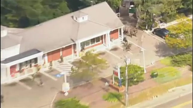 [NECN]AERIAL FOOTAGE: Gas Station Barricade Suspect in Custody